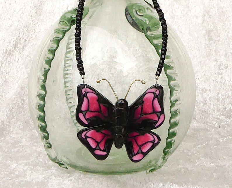 Butterfly polymer clay pendant necklace. Collar statement image 0