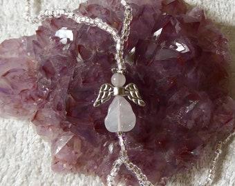 ROSE QUARTZ angel. Elastic slave bracelet. Beaded stretchy bracelets ring. Finger bracelet. Hand jewelry. Hand chain. Ring bracelet