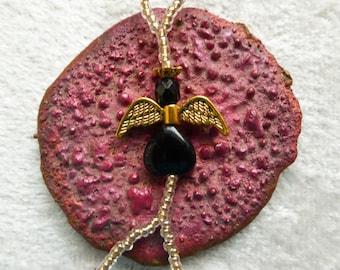 Black Gold Stone angel. Elastic slave bracelet. Beaded stretchy bracelets ring. Finger bracelet. Hand jewelry. Hand chain. Gemstone. Crystal