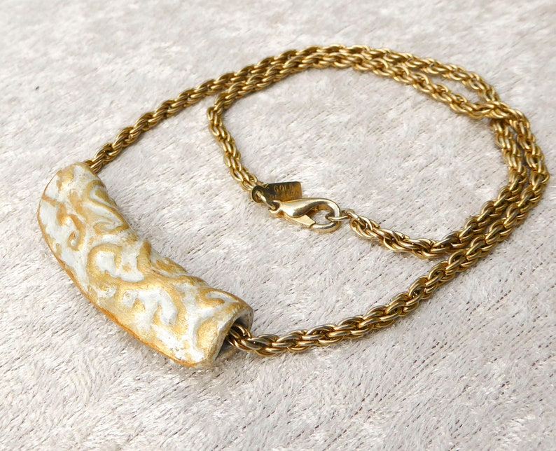 3D Gold polymer clay pendant necklace. Collar statement image 0