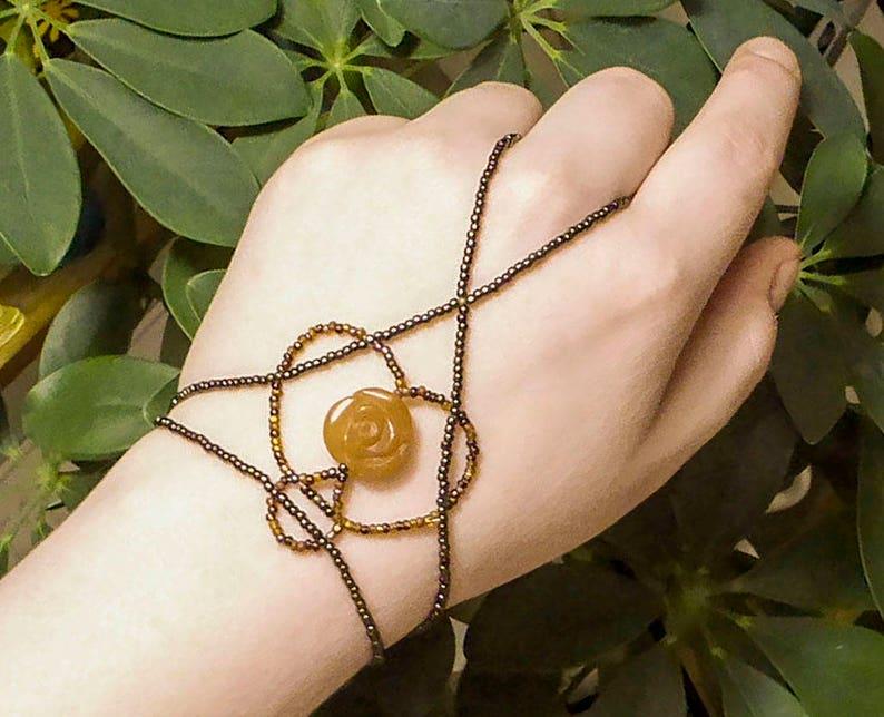 AVENTURINE ROSE slave bracelet. Bracelet ring. Finger image 0