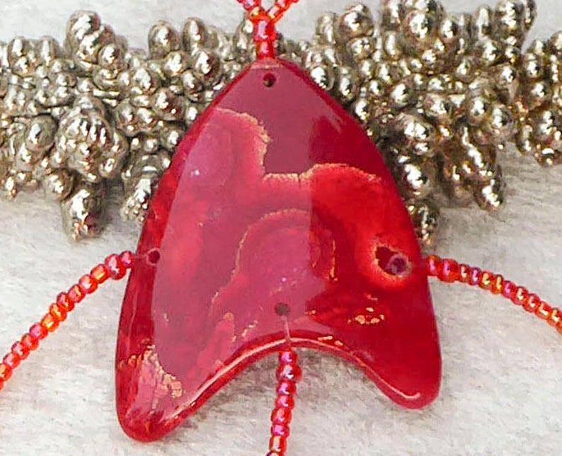 Red polymer clay slave bracelet. Bracelet ring. Finger image 0