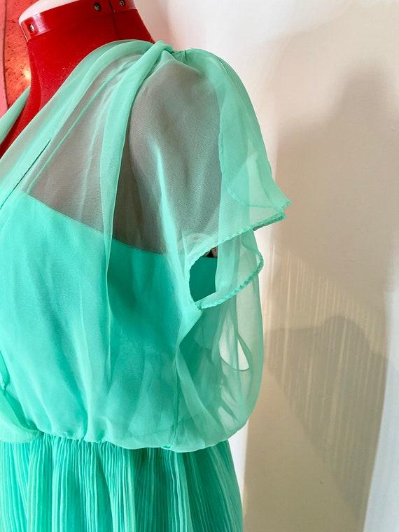 70s sheer mint green dress - image 2
