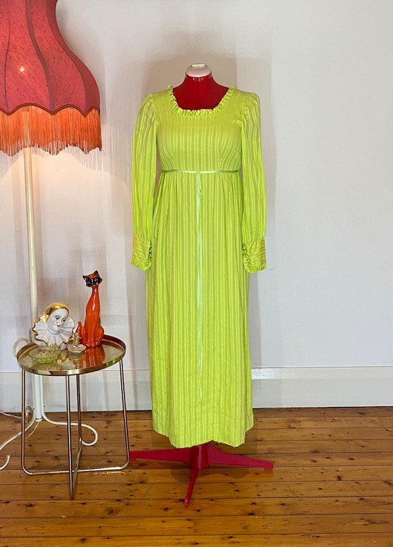 70s apple green prairie dress
