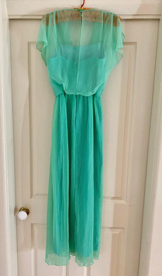 70s sheer mint green dress - image 3