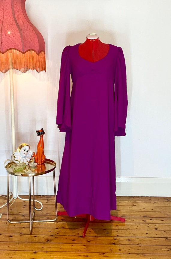 70s purple maxi dress with bell sleeves