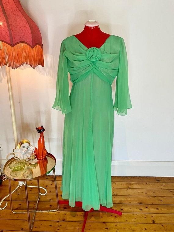 70s sheer green dress with rose detail
