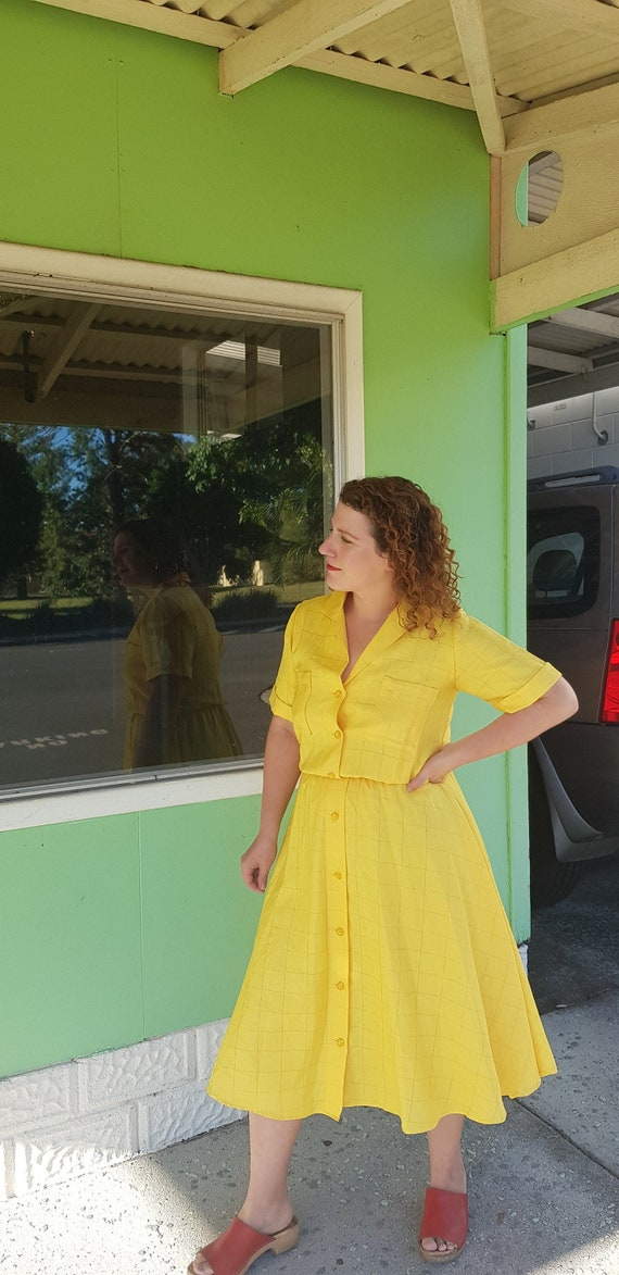 Sunflower yellow 80s shirt dress