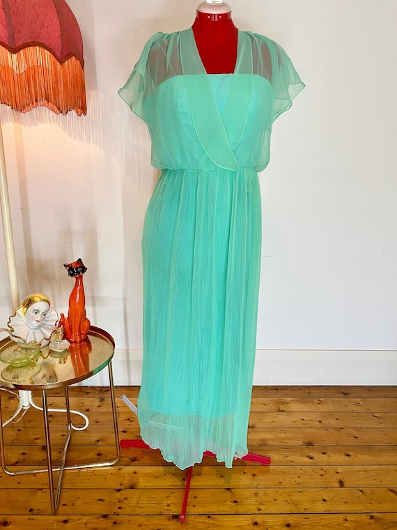 70s sheer mint green dress