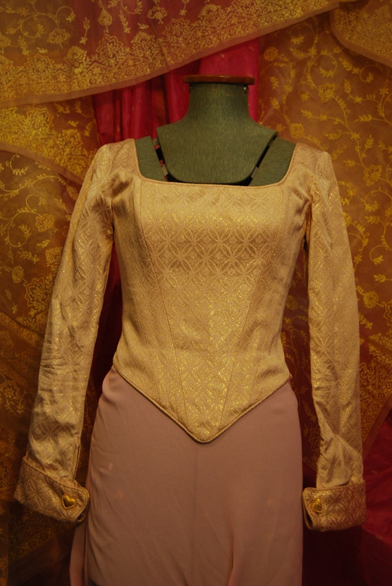 Gold and white vintage 90s corset top with heart … - image 1