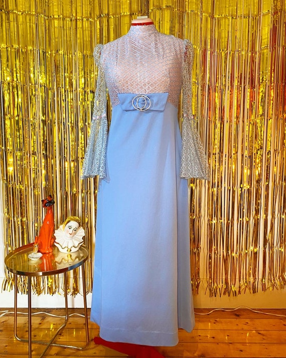 Amazing 70s Sparkly Blue and Pink Dress With Bell
