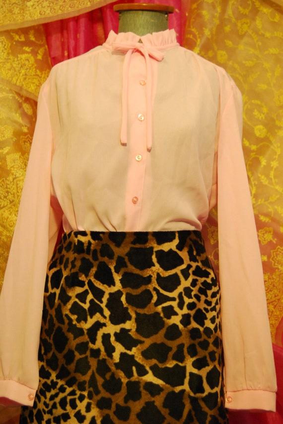 Pink 70s frill and tie collar shirt