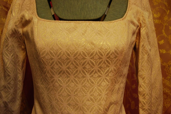 Gold and white vintage 90s corset top with heart … - image 4