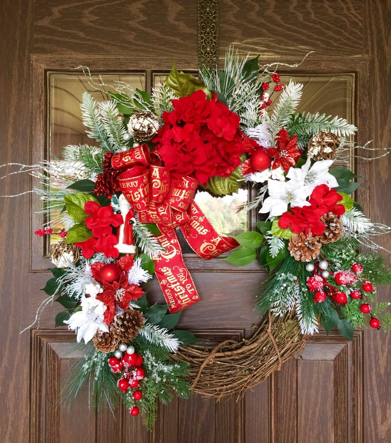 Etsy Poinsettias Front Door Wreath Christmas Wreath Grapevine Wreath Christmas Decorations Wreath Wreaths On Etsy Etsy Wreaths