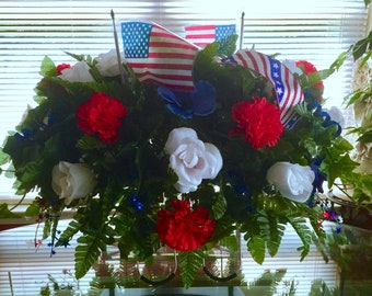 Etsy Large Saddle | Red, White and Blue Ribbons | Independence Day Saddle | July 4th | Cemetery Flowers on Etsy