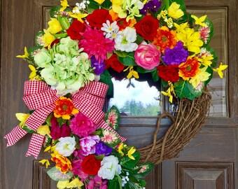 Etsy Wreath | Country Wreath | Front Door Wreath | Summer Wreath | Wreaths on Etsy | Wreaths By Trina