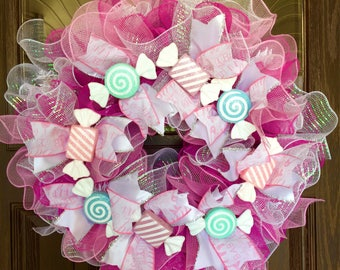Etsy Large Handmade Baby Girl Gift Wreath With Ruffles & Candy on Etsy | Pink and White White Wreath | Wreaths on Etsy | Etsy Wreaths