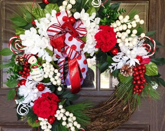 Etsy Front Door Wreath | Christmas Wreath | Grapevine Wreath | Red and White Wreath | Wreaths on Etsy | Etsy Wreaths
