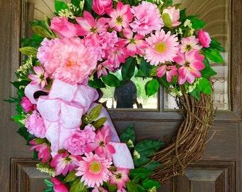 Etsy It's A Baby Girl Wreath | Grapevine Wreath | Baby Gift | Pink Wreath | Wreaths on Etsy | Etsy Wreaths