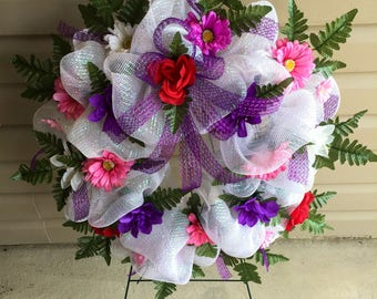 Etsy White, Pink and Purple Cemetery | Funeral | Sympathy | Memorial Flower Wreath on Etsy | Wreaths on Etsy | Etsy Wreaths