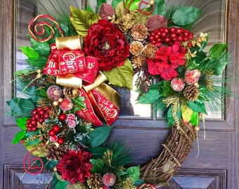 Etsy Door Wreath | Christmas Wreath | Grapevine Wreath | Christmas Decorations | Door Wreaths | Wreaths on Etsy | Etsy Wreaths