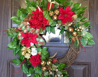 Etsy Red and Gold Front Door Wreath | Christmas Wreath | Grapevine Wreath | Christmas Decorations | Door Wreaths | Wreaths on Etsy | Etsy Wr