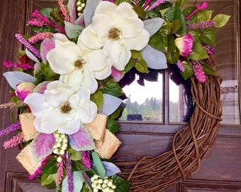 Etsy Summer Wreath | Magnolia Wreath | Wreaths on Etsy | Etsy Gifts | Door Wreaths By Trina