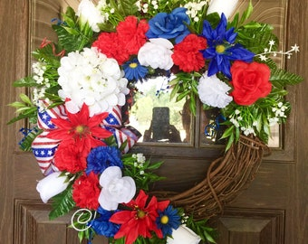 Etsy Wreath | Red, White and Blue Ribbons | Independence Day Wreath | July 4th | Wreaths on Etsy