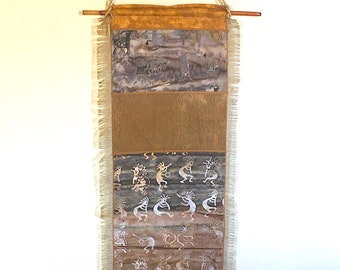 Wall Hanging, Southwest theme, Pieced Images on Burlap