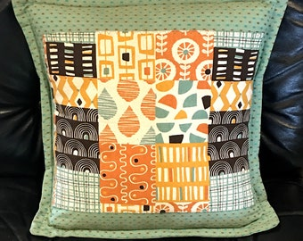 Japanese 2 Cotton Pieced-Look Accent Pillow Cover B