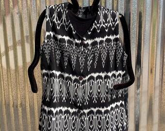 Guatemalan Cotton Black/White Ikat Long Vest