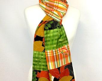Vintage Kimono Silk/Synthetic Reversible Pieced Scarf in green/orange/red/black