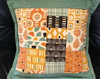 Japanese 2 Cotton Pieced-Look Accent Pillow Cover A