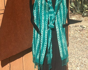 West African Resist Dye Cotton Long Vest with Scarf