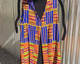 West African Ewe Kente Cloth Long Vest