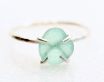 Sterling Beach Glass Ring Beach Glass Jewelry US Ring Size 8 12 Beach Gift Lake Erie Beach Glass Ring