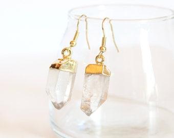 Raw Crystal Quartz Earrings in Gold / Boho Jewelry Dangle Earrings / Natural Stone Earrings / Jewelry Gift for Her / 14k Gold Fill Earrings