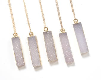Gemstone Slice Pendant Necklace, Raw Druzy Stone Necklace, Christmas Gift for Her, Layered Necklace, Gold Necklace, Boho Jewelry