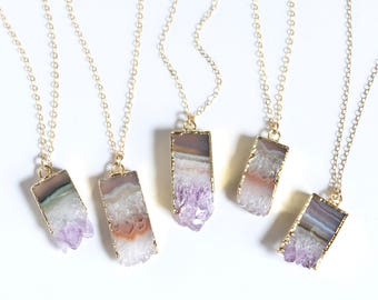 Amethyst Gemstone Necklace, Raw Amethyst Crystal, Simple Boho Necklace, Delicate Gold Necklace, Natural Stone Necklace, Jewelry Gift for Her