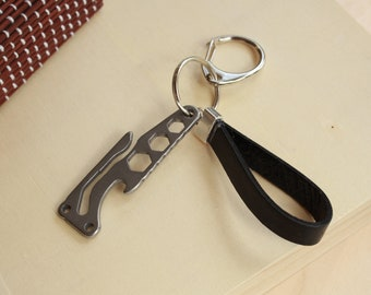 Stainless Steel Multi-function Outdoor Pocket Tool keychain, men's gadget, bottel opener keyfob, leather keychain, men's gift