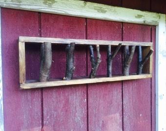 Rustic branch coat rack by Matlack Woodworking