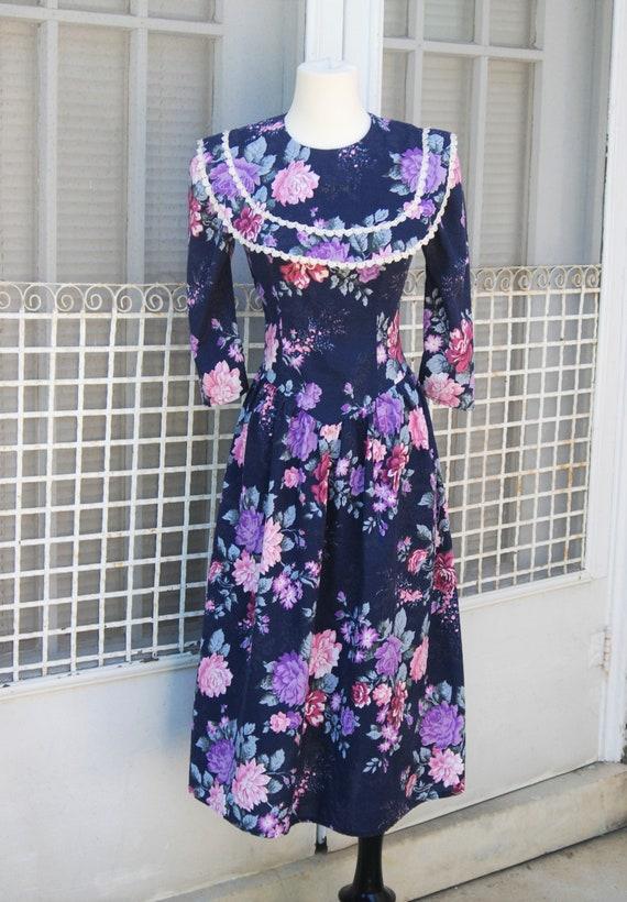 1980s Floral Prairie Dress XS