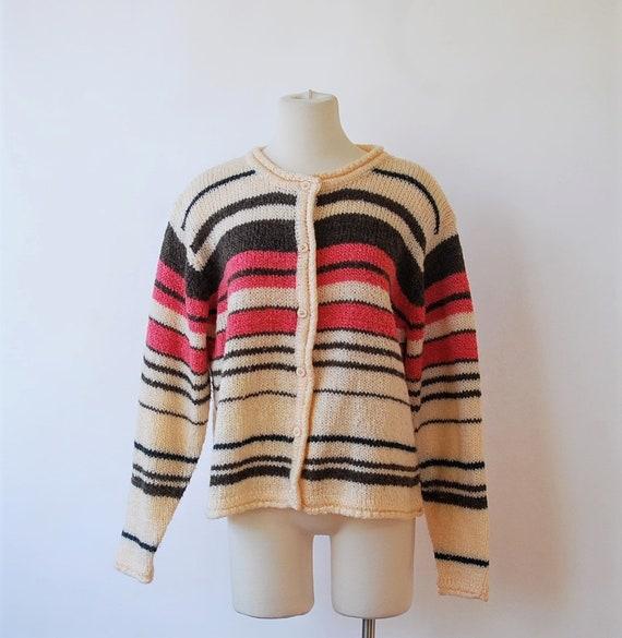 1970s Strawberry Jantzen Cardigan Sweater Cream Pi