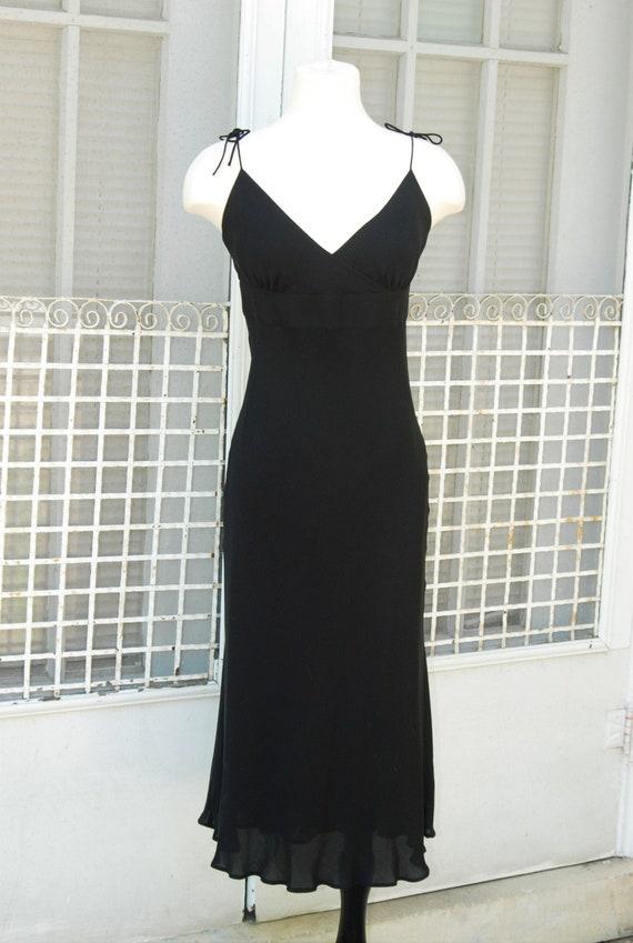 1990s Silk Slip Dress S Black V Neck Tie Shoulders