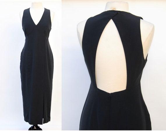 1990s Silk Dress Open Back Bias Cut Maxi