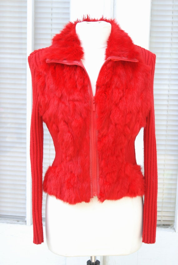 1990's Red Rabbit Fur Zip Sweater Cyber Rave Y2K