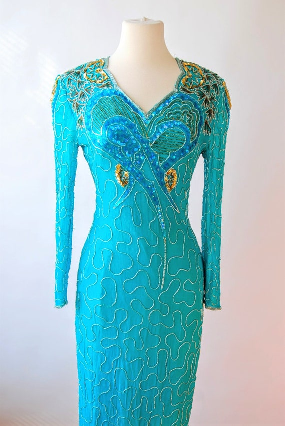 1980s Silk Sequin Beaded Dress Heart Bodice Long S