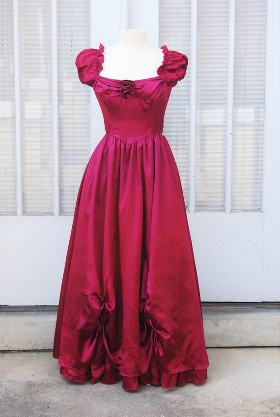 1970s RARE Gunne Sax 34 Rose Red Satin Gown Full S