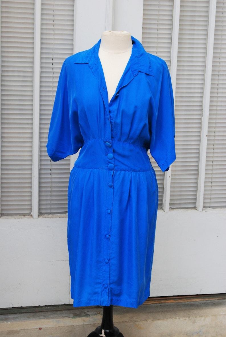 1980s Silk Day Dress Blue Button Up Kimono Sleeves L 40