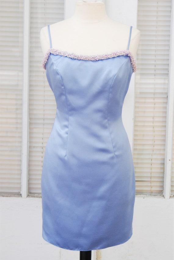 1990's Satin Slip Dress Cluster Beaded Neckline Ho